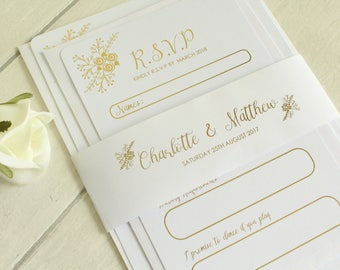 Personalised Floral Wedding Invitation/RSVP card/Details Card with Belly Band in Gold/Silver/Rose Gold/Champagne Gold/Colour Foils Sample