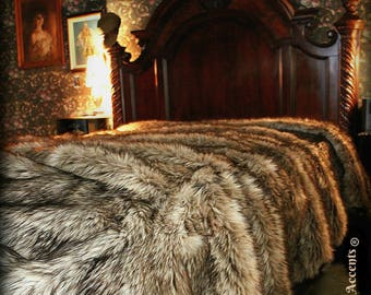 Plush Faux Fur Bedspread - Tan and Gray Wolf Shag Bear Design - Designer Throws by Fur Accents USA