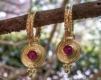 18K gold ruby hoop earrings, disc earrings, drop earrings, antique earrings, ruby hoop earrings, July Birthstone, medallion earrings