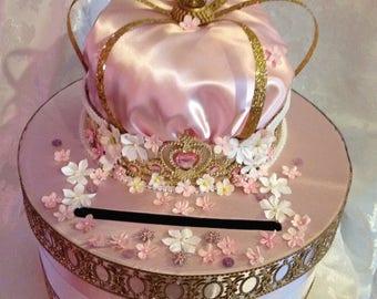 Princess card box, wedding card box, birthday card box, secure card box  pink card box