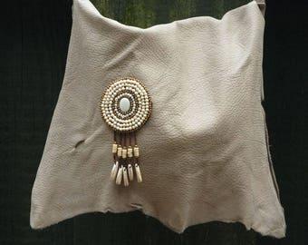 Gray leather purse, Beaded leather purse, Light gray handbag