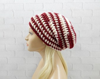 Maroon Slouchy Hat, Winter Hat, Vegan Friendly, Womens Hat, Slouch Hat, Oversized Hat, Slouchy Beanie, Crochet Slouch Hat, Crochet Beanie
