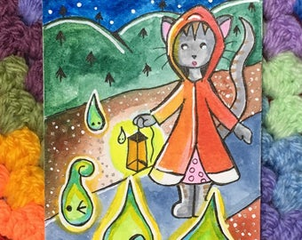 ACEO Original Watercolor Painting - Artist Trading Card - Cat Will o' the Wisps, Illustration