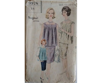 """UNUSED Vintage 50's 60's Vogue #9978 Sewing Pattern Maternity Tunic Over Blouse and Dress Size UK 16 Bust 38"""""""