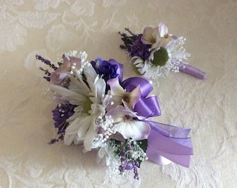 Corsage and matching boutonnière in lavender and purple