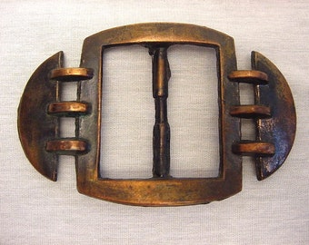 Vintage Large Cast Bronze Coppery Women's Belt Buckle