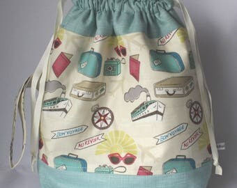 Quilted Drawstring Project Bag suitable for Knitting/Crochet/Craft