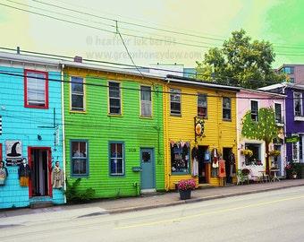 Colourful Photography - Queen Street Shops Halifax - Wall Decor - Photo Art Print Canada