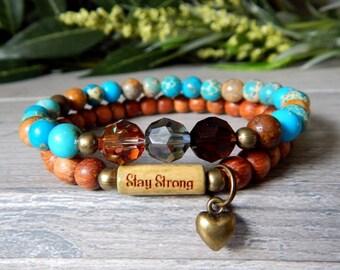 Strength Bracelet, Stay Strong Inspiration Bracelet, Heart Charm, Motivational Gift, Intention Bracelet, Sentimental Jewelry, Encouragement