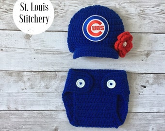 Chicago Cubs Inspired Baseball Hat Diaper Cover / Newborn Photo Prop / Sitter Session / Baby Girl / Newborn - 9 Months **MADE TO ORDER**