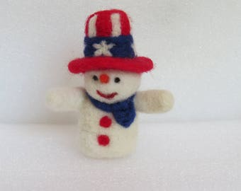Handmade Needle Felted Snowman for 4th of July, Thanksgiving, Independence Day, Valentine's Day and Christmas Decoration