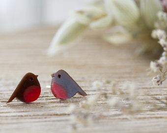 Robin Earrings - Garden Birds , Cute Earrings , Bird Earrings , Bird Jewellery , Resin Earrings , Resin Jewelry , Gifts for Her , Robins