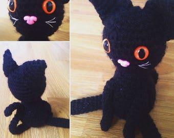 Crocheted Black Cat Amigurumi Soft Toy