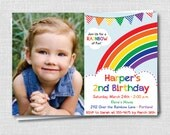 Colorful Rainbow Birthday Party Photo Invite - Rainbow Party - Classic Rainbow - Digital Design or Printed Invitations - FREE SHIPPING