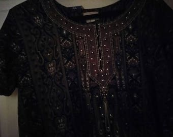 Vintage silk cotton blend dress made in India with a few sequins on upper front
