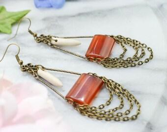 Chandelier earrings Chalcedony - bronze - boho - bohemian