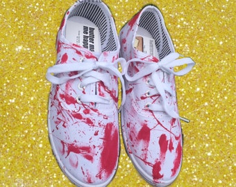 Blood splatter shoes. Bloody shoes. Blood painted shoes (can make these in toms) Halloween shoes. Bloody splattered shoes.