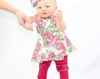 Sweet Peonies Peplum Top, Floral Print, Girls Short Sleeve, Tank Top, Tunic, Peplum, Baby Tee, Toddler Shirt