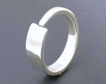 Unusual Wedding Band Silver Band Forged Sterling Silver Enso Ring Modern Design Handmade Artisan Jewelry Silversmith Gift for Him or Her