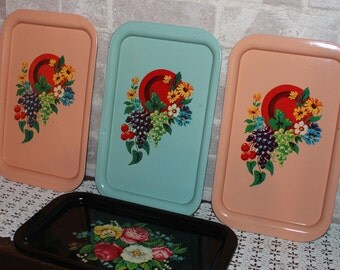Decorative metal serving trays set of 5, Garden party Floral tole painted trays, Snyder county red cross trays