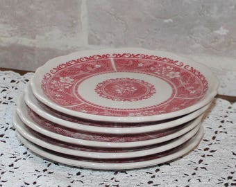 Strawberry Hill Syracuse china Bread and Butter or dessert plates of 5, heavyweight restarauntware, Red design restaurant china