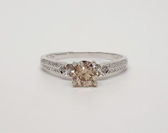 Champagne Pink Brown VS & White Diamond .96ctw 10kt White Gold Ring Size 8.5