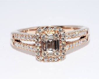 Baguette and Round .72ctw Natural Diamond Engagement Ring 10kt Rose Gold