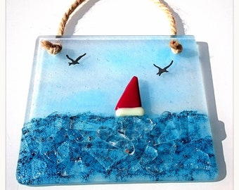 Sail Glass Red Boat