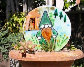 Garden Gnome- in the woods-Elf-Gnome-fairy garden-decorative plate-fused glass-dwarf-Garden Decoration-Outdoor & Gardening-hanging
