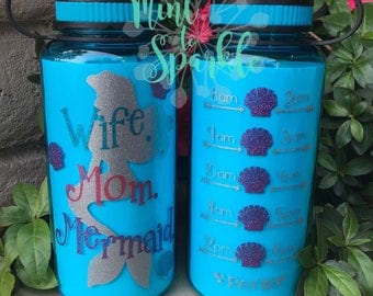 Wife. Mom. Mermaid. Motivational water bottle with hourly tracker