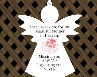 AG7. Hanging Angel Memorial Plaque.  Missing you always forgetting you never. Memorial Plaque.