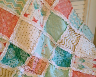Crib Rag Quilt, Pink Coral Aqua Gold Arrows Baby Quilt Baby Girl Minky Baby Quilt Crib Bedding