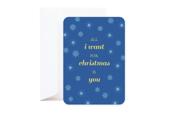 """Christmas Card """"All I Want for christmas is you"""" // Single postcard including envelope // Romantic love quote // As seen on Pinterest"""