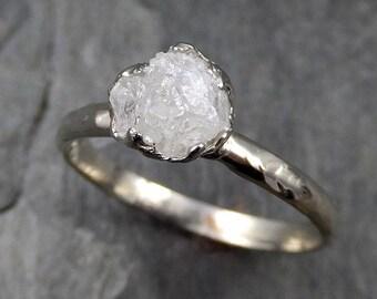 Rough Uncut Diamond Engagement Ring Rough Diamond Solitaire 14k white gold Conflict Free Diamond Wedding Promise byAngeline 0459
