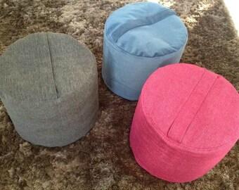 Blue Round Pouf, Blue Footrest Pouf, Blue Ottoman Pouf