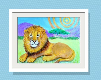 Kids Wall Art The King  Art Print 10 x14 Limited Edition Original Acrylic Painting - Fun Home Decor - African Lion - Big Cat