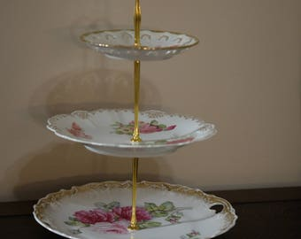 3 Tiered Stand Dessert Tray Cake Cupcake Stand Jewelry Wedding Bridal Tea Party Housewarming Antique Plates
