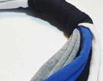 CLEARANCE - Blue, Black, Grey and White Recycled T-Shirt Yarn Necklace