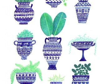 Greek Greenery Print