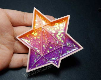 Merkaba sacred geometry resin tray, crystal tray, jewelry tray iridescent, holographic.