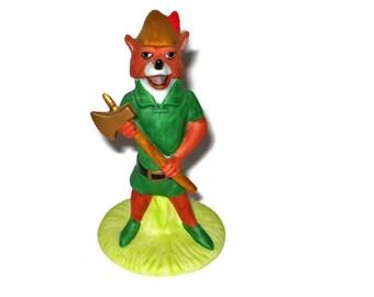 Walt Disney Robin Hood Figurine Ceramic Figure Porcelain Walt Disney Company The Disney Collection 1988 Fox Cartoon Movie Ax Axe