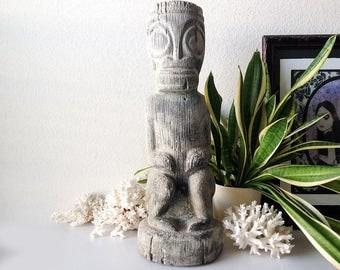 Vintage Concrete Tiki Statue Mid Century Cement Garden Figure Retro Wall  Hanging Polynesian Stone Yard Ornament