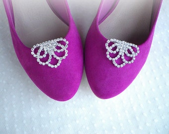 Vintage art deco style very sparkly brooch 4 x 3 cm wedding bridal bridesmaids hen party shoe clips