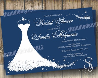 Wedding dress bridal shower invitation in navy blue