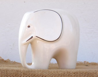 White Porcelain Elephant - Collectible - Home Decor