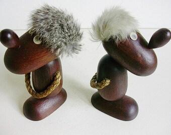Pair Hans Bolling style optimist/pessimist, Danish figurines.