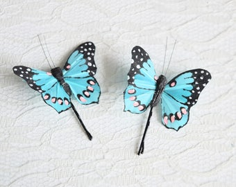 Teal Butterfly Hair Pins, butterfly hair clips, Bridal hair clips, Wedding flower pins, butterfly bobby pins, woodland wedding
