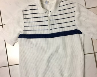 DDR vtg polo shirt white dark blue stripes size M