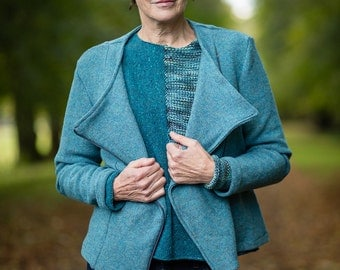 Moto Jacket in Aqua Felted Pure New Wool by Crooked Knitwear