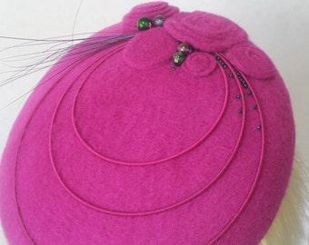 Pink felt button percher hat. OOAK